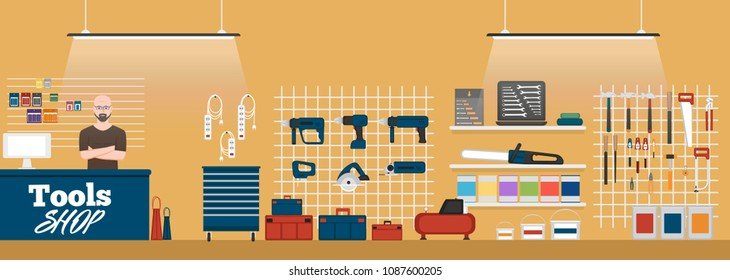 Tools shop interior banner with instruments. Vector illustration in flat style.
