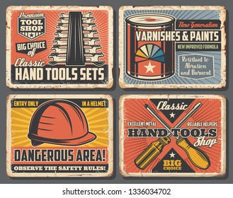 Tools shop, repairs and building work. Vector wrenches and paint can or varnish, helmet and screwdriver. Interior redesign and house repairing, dangerous area, construction or carpentry equipment