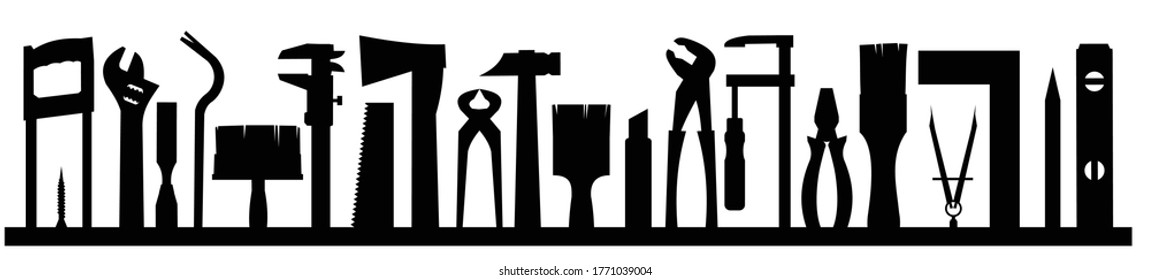 Tools silhouette background vector. Isolated on white. Instruments of a carpenter, joiner, locksmith, handyman. Rent, sale.