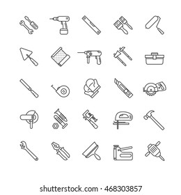 tools thin line icons set