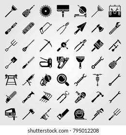 Tools vector icons set. brush, rake and pick axe