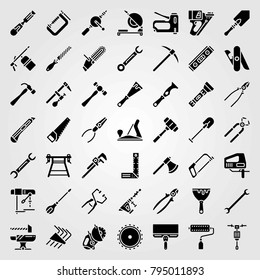 Tools vector icons set. mallet, hammer and pipe wrench