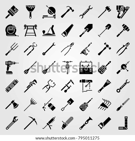 Tools Vector Icons Set Wood Plane Stock Vector Royalty Free