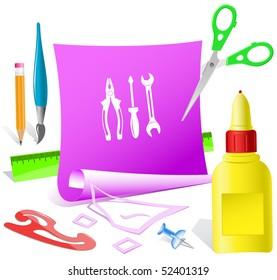 Tools. Vector paper template.