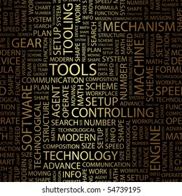 TOOLS. Word collage. Vector illustration.