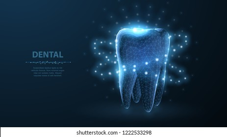 Tooth. Abstract low poly shine bright tooth illustration. Blue background and stars. Dental care, dentist clinic, stomatology medicine concept. Dentist white toothpaste, teeth freshness symbol.