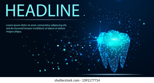 Tooth. Abstract low poly shine bright tooth illustration. Blue background and stars. Dental care, dentist clinic, stomatology medicine concept.Dentist white toothpaste, teeth freshness symbol.Headline