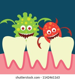 tooth bacteria and tooth for dentistry / stomatologist / dental clinic poster. flat vector illustration