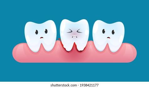 Tooth is bleeding in the gum. Blood teeth. Vector cartoon style.