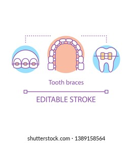 Tooth braces concept icon. Modern cosmetic dentistry. Misaligned jaw correction. Bite correction. Smile recovery idea thin line illustration. Vector isolated outline drawing. Editable stroke