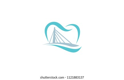 tooth bridge logo vector icon