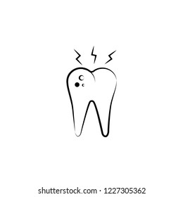tooth broblem, care icon. Element of dantist for mobile concept and web apps illustration. Hand drawn icon for website design and development, app development