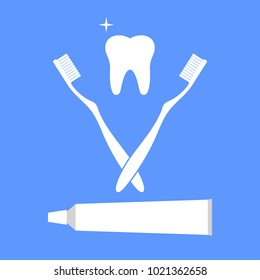 tooth brush and paste realistic set isolated vector illustration with a tooth on a blue background