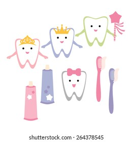 Tooth, tooth brush and tooth paste vector.