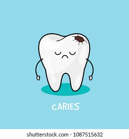 Tooth with caries icon. Cute tooth characters. Caries tooth. Dental personage vector illustration. Illustration for children dentistry. Oral hygiene, teeth cleaning.