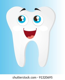tooth cartoon with eyes and mouth vector illustration