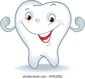 tooth cartoon. Healthy tooth. Cartoon