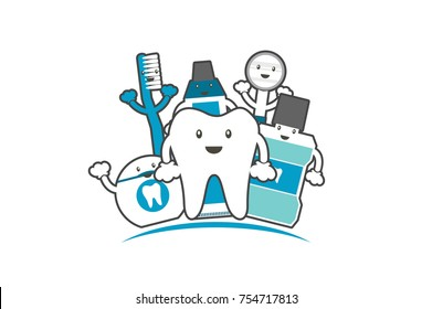 tooth cartoon vector flat style for design, funny best friend - happy healthy teeth family with toothbrush toothpaste mouthwash floss and dentist tool, dental care concept
