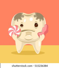 Tooth character with candy. Vector flat cartoon illustration