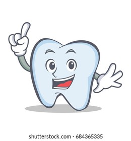 tooth character cartoon style with one finger
