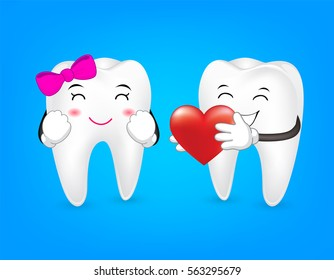 Tooth character holding red heart. Couple in love,  Valentine's day concept. Illustration on blue background.