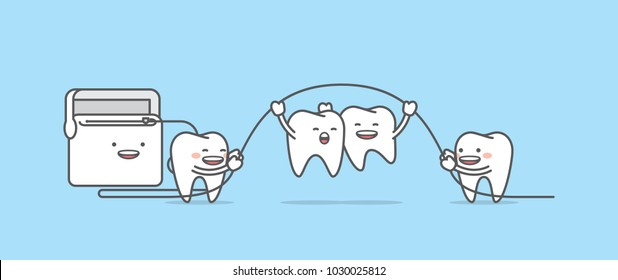 Tooth character jumping up with floss illustration vector on blu