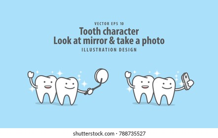 Tooth character Look at mirror & take a photo with mobile phone illustration vector on blue background. Dental concept.
