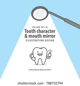 Tooth character & mouth mirror banner poster illustration vector on blue background. Dental concept.