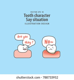 Tooth character Say situation between good tooth & periodontitis illustration vector on blue background. Dental concept.