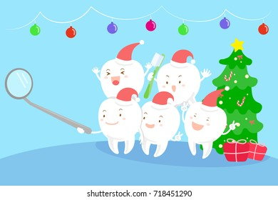 tooth with christmas on the blue background