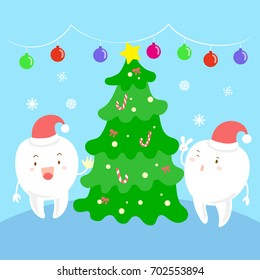 tooth with Christmas tree on the blue background
