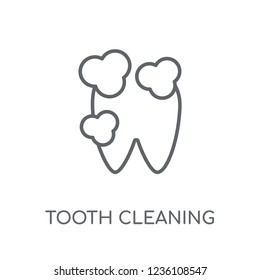 Tooth cleaning linear icon. Modern outline Tooth cleaning logo concept on white background from Dentist collection. Suitable for use on web apps, mobile apps and print media.