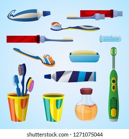 Tooth cleaning tool concept background. Cartoon illustration of tooth cleaning tool vector concept background for web design