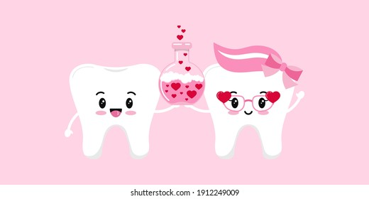Tooth couple in love with chemistry flask. Happy Valentines Day teeth holds pink boiling bubbling liquid reaction in beaker with heart. Flat design cartoon funny dental character vector illustration.