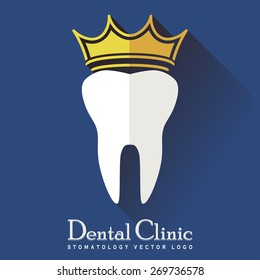 Tooth with a Crown and long shadow on a Blue Background, Stomatology Clinic Icon, Dental Treatment Logo, Tooth Medical healthcare, Dental Symbol, Tooth Modern Flat Design - Tooth Vector Illustration
