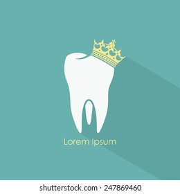 Tooth with crown symbol - vector illustration