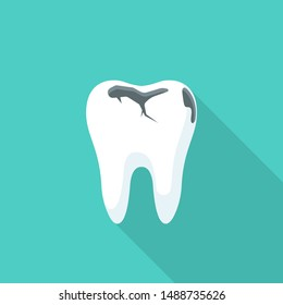 Tooth decay. Bad tooth. Dental care background. Unhealthy teeth. Vector illustration flat design. Isolated on background. Stomatology care for teeth.