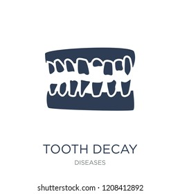 Tooth decay icon. Trendy flat vector Tooth decay icon on white background from Diseases collection, vector illustration can be use for web and mobile, eps10