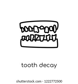 Tooth decay icon. Trendy modern flat linear vector Tooth decay icon on white background from thin line Diseases collection, editable outline stroke vector illustration