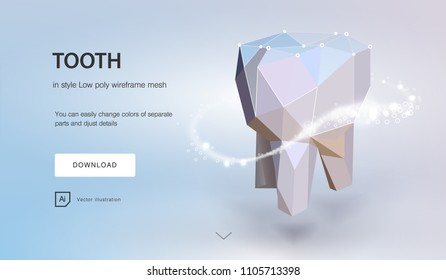 tooth. tooth dental  3d low poly geometric model. Dentistry innovation future technology titan metal thread. Medical healthy science blue polygonal point line vector