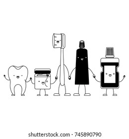tooth and dental floss and toothbrush and toothpaste and mouthwash in cartoon holding hands in black silhouette vector illustration