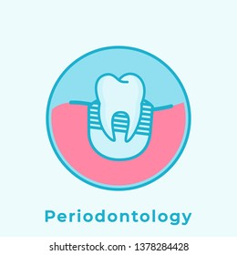 Tooth Diseases: Periodontology. Flat Line Art Drawing. Dental Clinic Icon. Web Pictogram for Dentistry. Stomatology Concept, Logo or Illustration. Dentistry department label