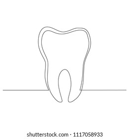 The tooth is drawn by one black line on a white background. One-line drawing. Continuous line. Vector Eps10