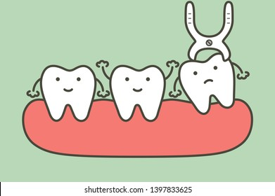 tooth extraction by dental tools to remove wisdom tooth - teeth cartoon vector flat style cute character for design