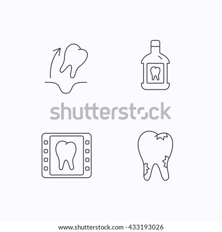 Tooth Extraction Caries Mouthwash Icons Dental Stock Vector