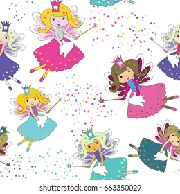 Tooth fairies with magic wands and stars around. Seamless pattern. Vector illustration on white background