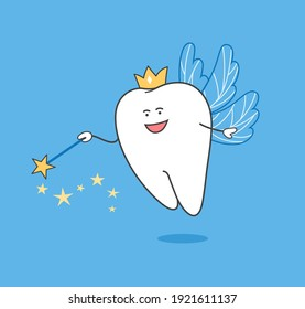 Tooth Fairy. Cartoon Tooth Fairy with magic wand and wings.