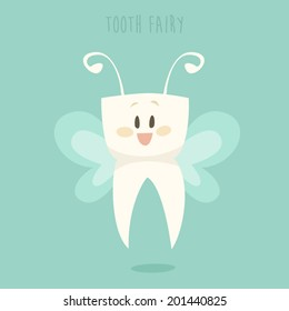 tooth fairy, healthy white teeth vector illustration, flat design