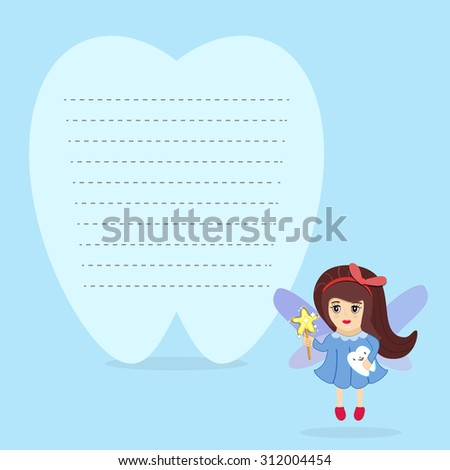Tooth Fairy Holding Tooth Standing Beside Stock Vector Royalty Free