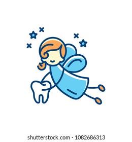 Tooth fairy icon. Vector flat illustration, Thin line art design